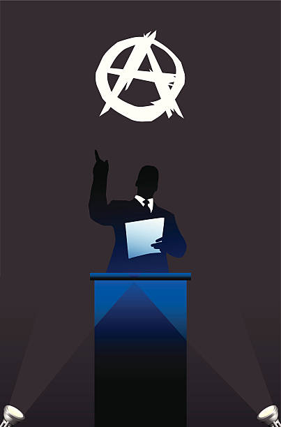 Political speaker on Anarchy flag background  anarchy symbol stock illustrations