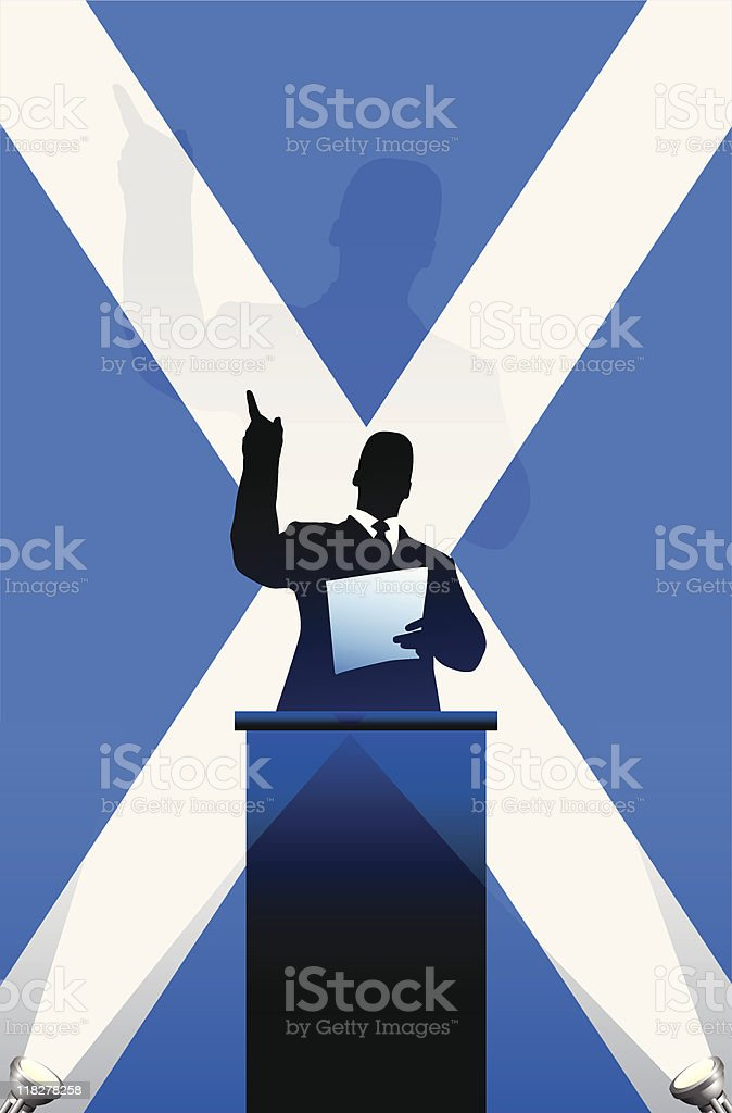 Political speaker on Scotland flag background royalty-free political speaker on scotland flag background stock vector art & more images of adult