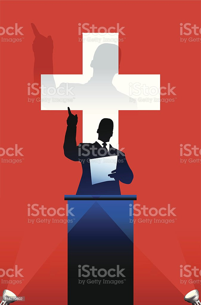 Political speaker on Swiss flag background vector art illustration