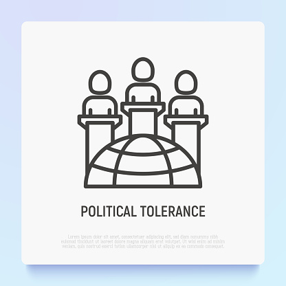 Political tolerance thin line icon: different consignments are respect each other. Modern vector illustration.