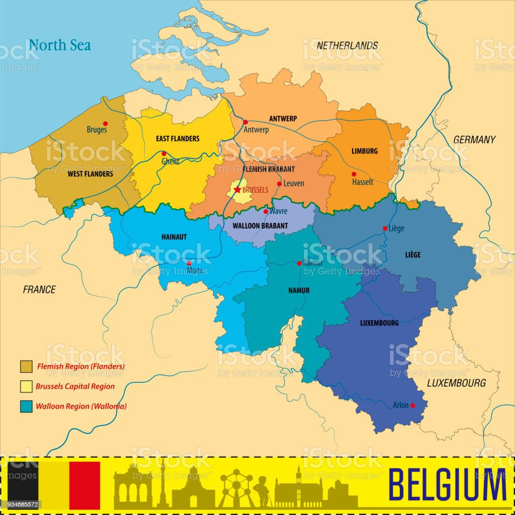 political vector map of belgium royalty free political vector map of belgium stock vector art