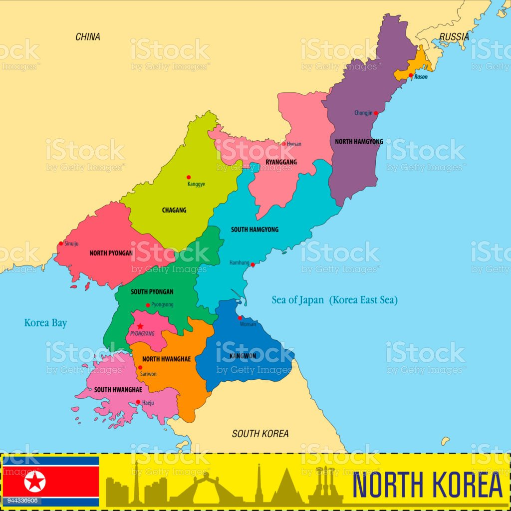 Political Vector Map Of North Korea Stock Vector Art & More Images ...