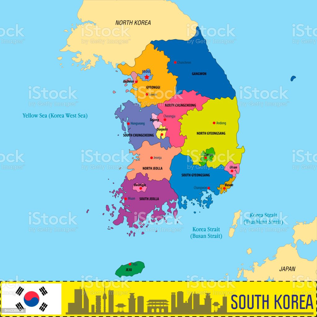 Political Vector Map Of South Korea Stock Vector Art More Images
