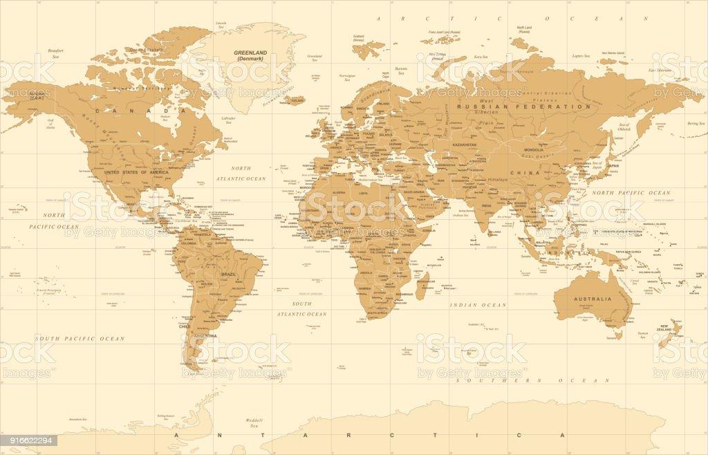 ビンテージ黄金の政界地図ベクトル ベクターアートイラスト