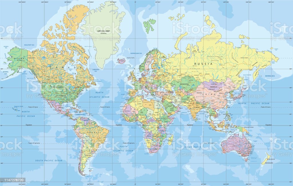 Political World Map In Mercator Projection Stock ...