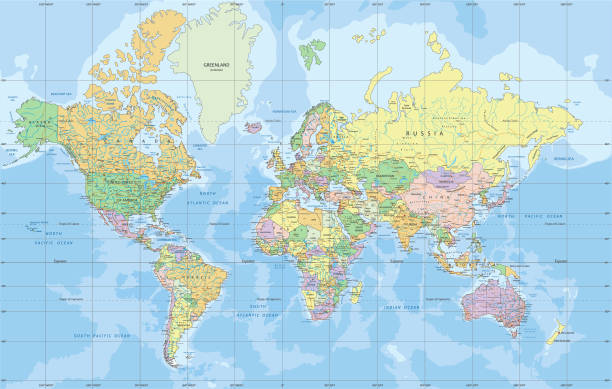 Political World map in Mercator projection. Political World map in Mercator projection. Organized vector illustration on seprated layers. equator stock illustrations