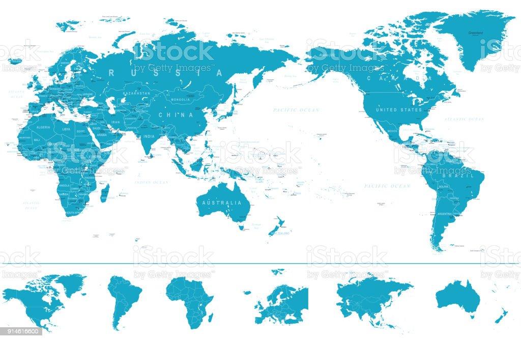 Karte Kontinente Welt.Politische Welt Karte Pazifik Zentriert Und Kontinente Stock Vektor Art Und Mehr Bilder Von Afrika