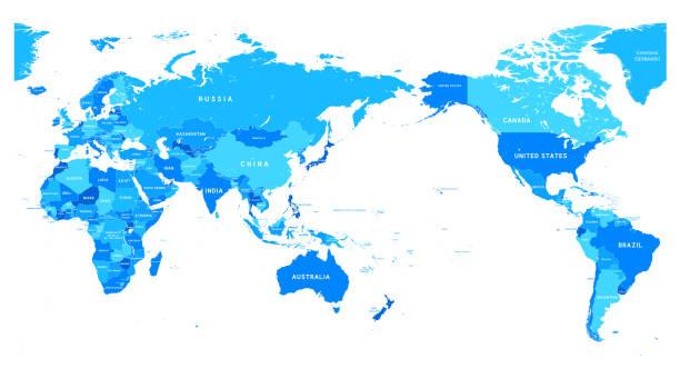 ilustrações de stock, clip art, desenhos animados e ícones de political world map pacific centered - oceano pacífico