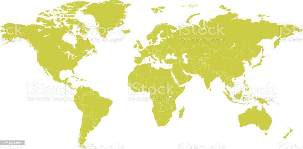 Political world map vector cartoon illustration vector art illustration