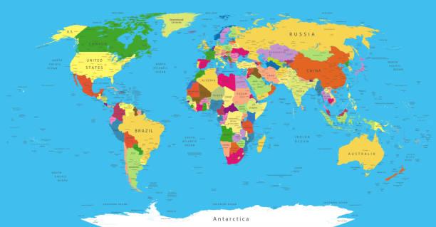 ilustraciones, imágenes clip art, dibujos animados e iconos de stock de mapa político del mundo - político