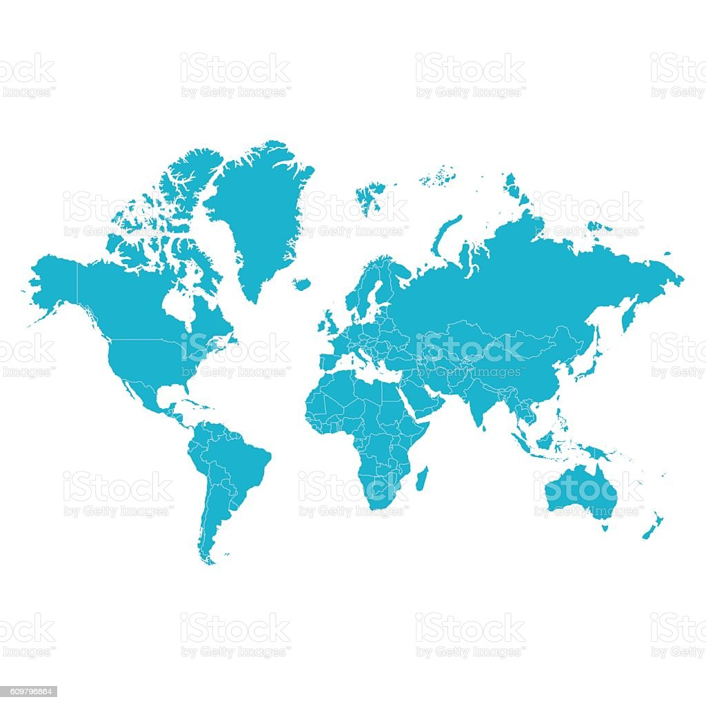 Political world map vector art illustration