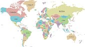 Political World Map vector illustration isolated on white background. Editable and clearly labeled layers.