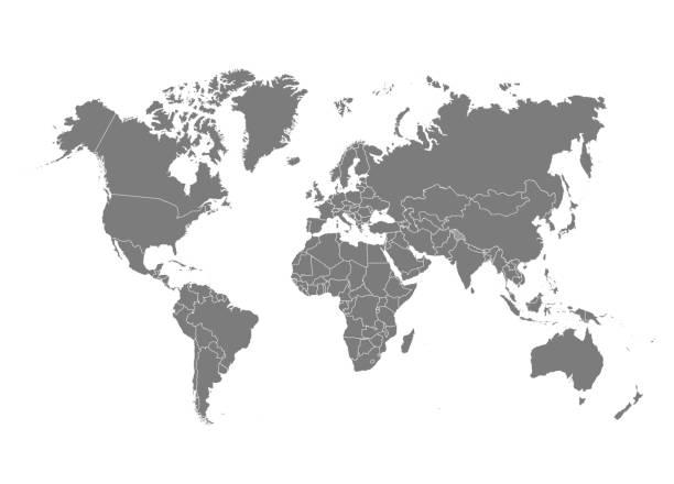 political world map vector illustration. - world map stock illustrations, clip art, cartoons, & icons