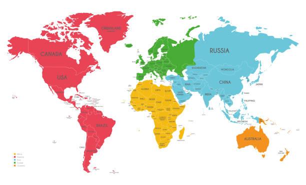 politische weltkarte vektor-illustration mit verschiedenen farben für jeden kontinent und isoliert auf weißem hintergrund. bearbeitet werden und eindeutig beschriftete schichten. - europa kontinent stock-grafiken, -clipart, -cartoons und -symbole