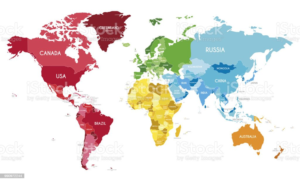 Polictical World Map.Political World Map Vector Illustration With Different Colors For