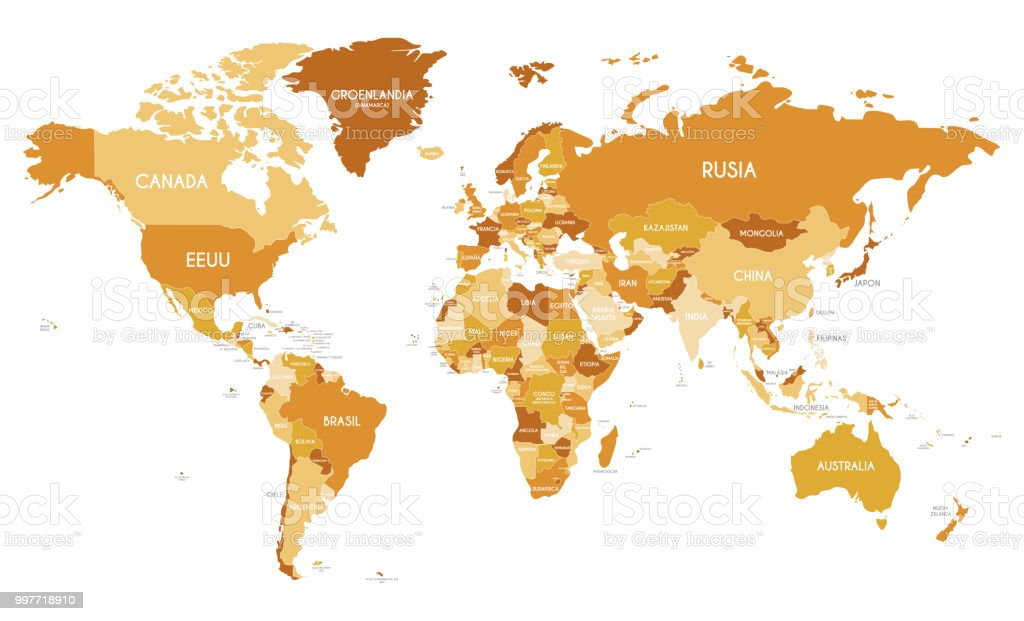 Political World Map Vector Illustration With Different Tones Of ...