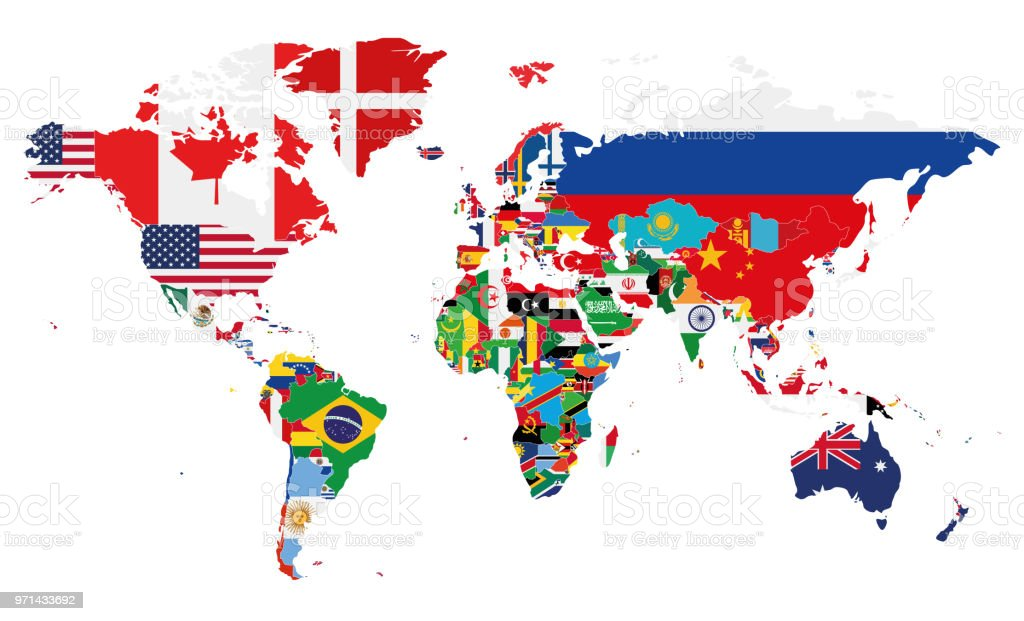 Political World Map Vector Illustration With The Flags Of ...