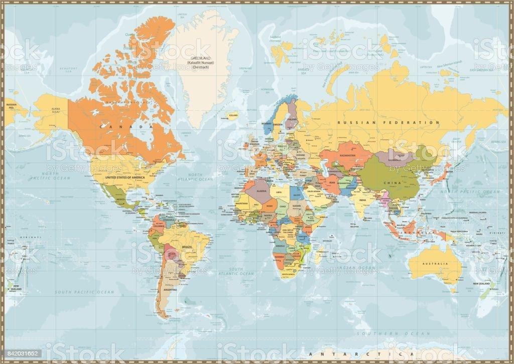 Mapa Rios Del Mundo.Ilustracion De Color Vintage Mapa Del Mundo Politico Con