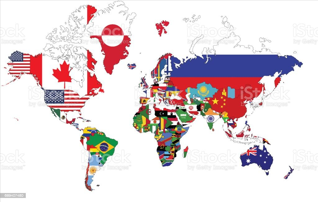 Planisferio político con banderas del país. - ilustración de arte vectorial