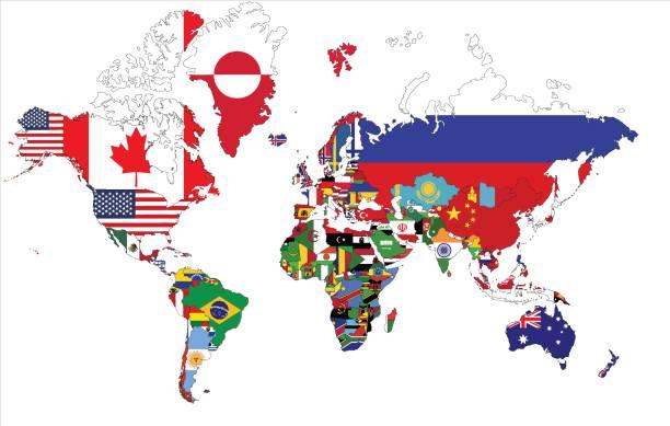 illustrations, cliparts, dessins animés et icônes de carte du monde politique avec des drapeaux de pays. - cartes et drapeaux