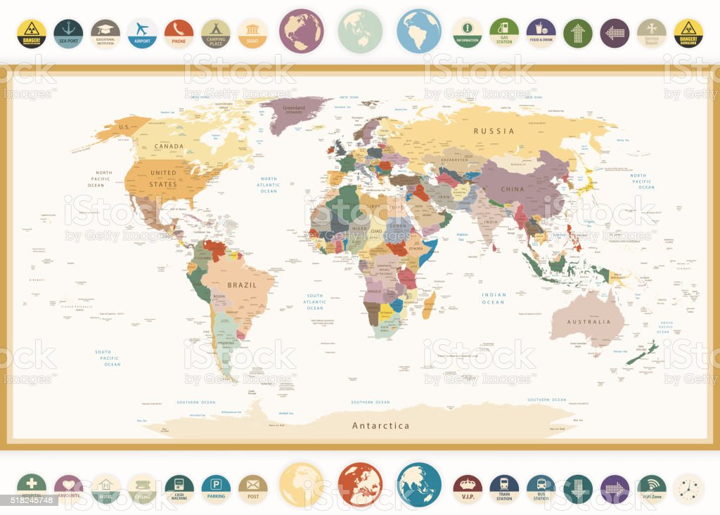 Political world map with flat icons and globesvintage colors stock political world map with flat icons and globesntage colors royalty free political world gumiabroncs Choice Image