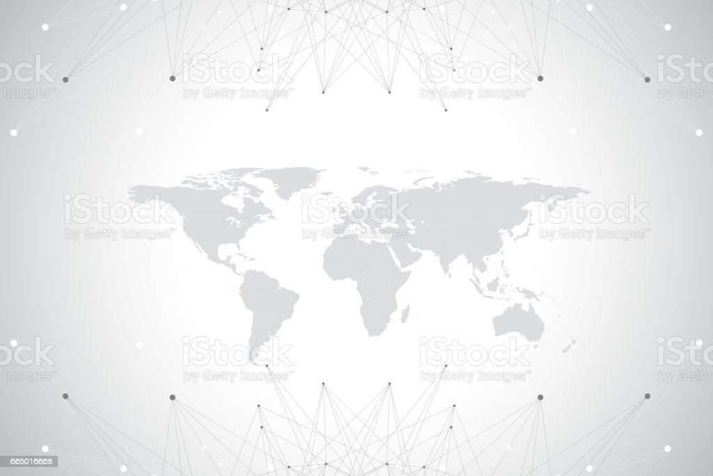 グローバルな技術ネットワーク概念と政治的な世界地図。デジタル データの可視化。線叢。大きなデータのバック グラウンド通信。科学的なベクトル図 ベクターアートイラスト