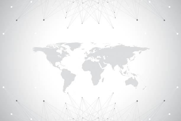 グローバルな技術ネットワーク概念と政治的な世界地図。デジタル データの可視化。線叢。大きなデータのバック グラウンド通信。科学的なベクトル図 - 翻訳点のイラスト素材/クリップアート素材/マンガ素材/アイコン素材