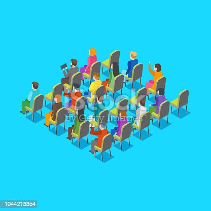 Politician Business Audience Concept 3d Isometric View on a Blue. Vector illustration