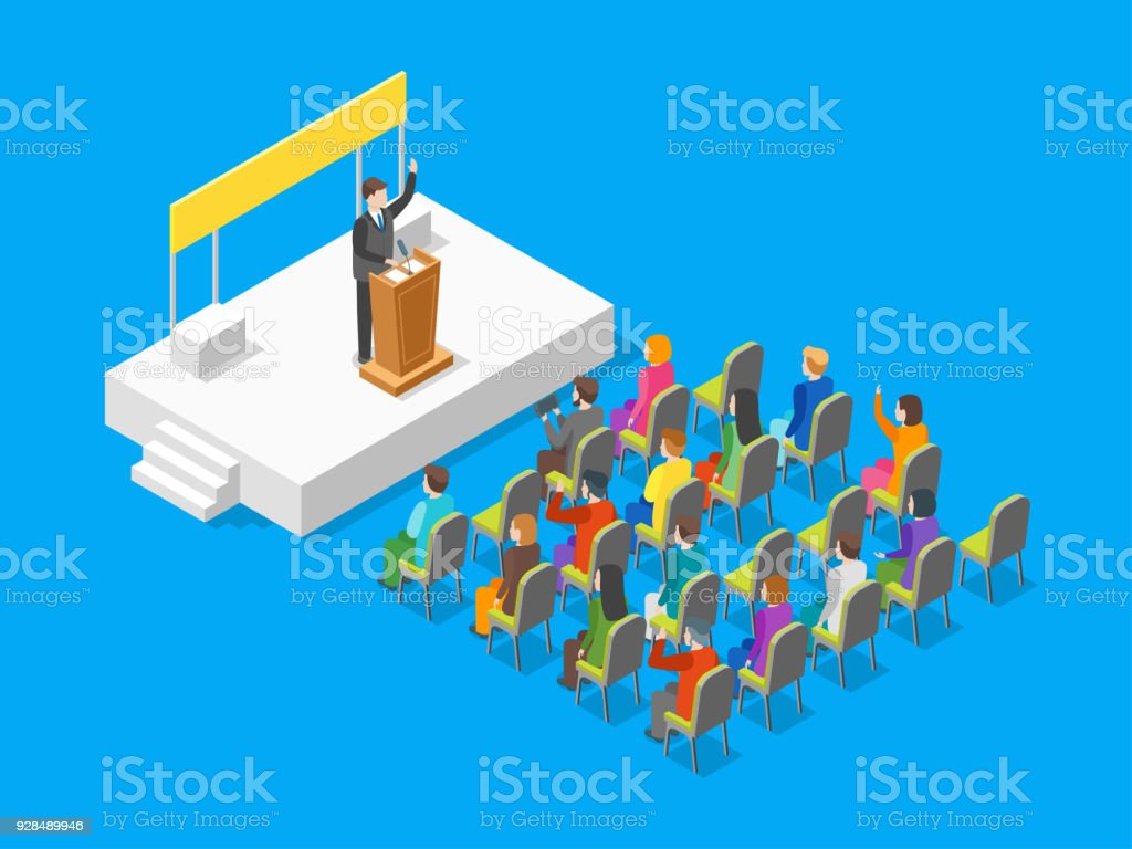 Politician Business Concept 3d Isometric View. Vector vector art illustration