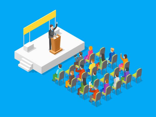 ilustrações, clipart, desenhos animados e ícones de conceito de negócio político 3d vista isométrica. vector - político