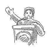 Politician Speech Podium Drawing