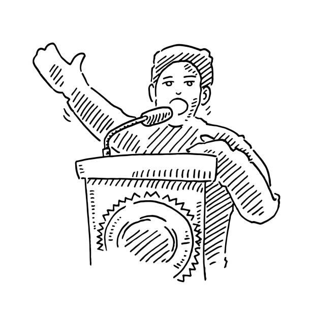 Politician Speech Podium Drawing vector art illustration