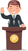 Politician tribune performance businessman character cartoon design vector illustration