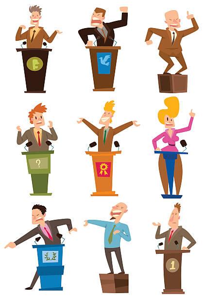 ilustrações, clipart, desenhos animados e ícones de politicians people vector set. - político