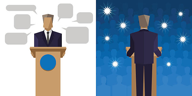 politicians say it behind the podium before an audience - politician stock illustrations, clip art, cartoons, & icons