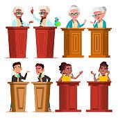 Politicians, Speakers, Tutors Cartoon Vector Characters Set