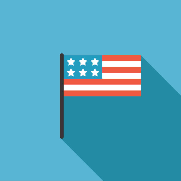 Politics And Election Flat Design icon. American Flag With Stars Elections and political icons in flat design style. American Flag With Stars american flag illustrations stock illustrations