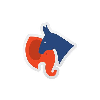 Politics And Election Flat Design icon. Democratic and Republican Symbols