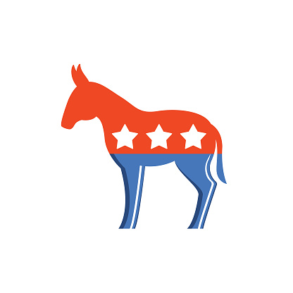Elections and political icons in bright colors. Elections and political icons in flat design style. Democratic and Republican Symbols