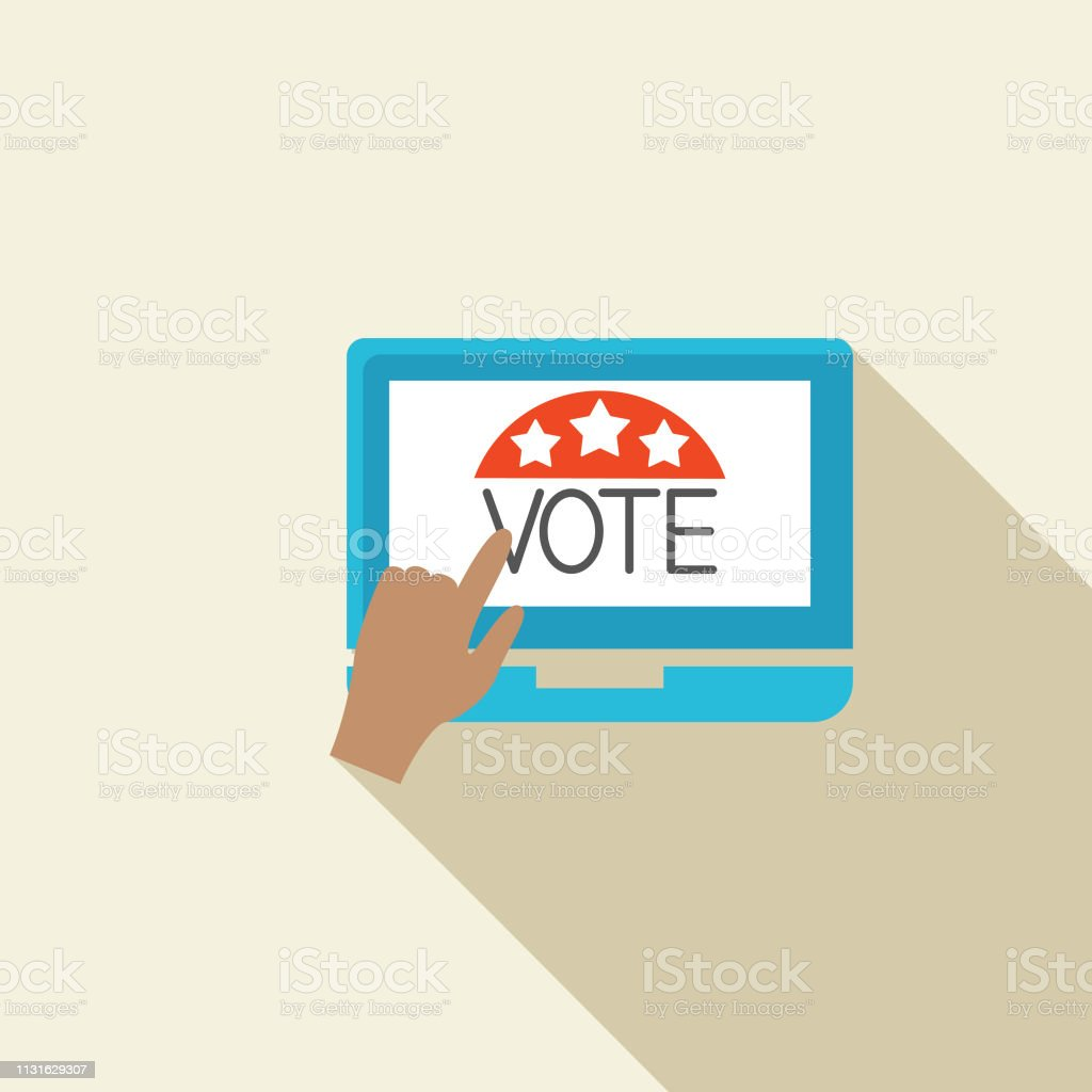 Elections and political icons in flat design style. Voting online