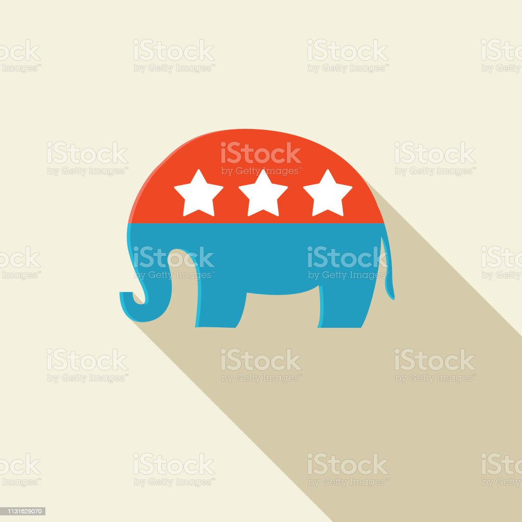 Elections and political icons in flat design style. Republican...
