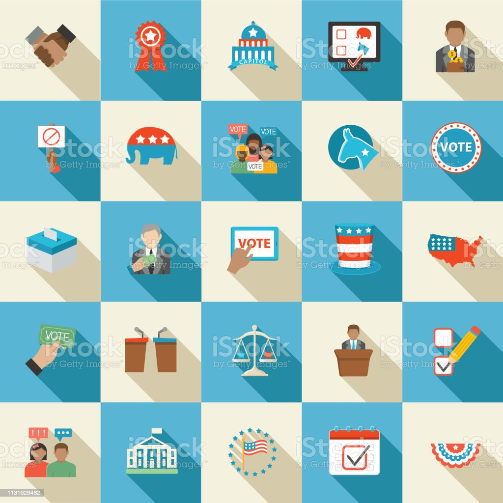 Elections and political icons in flat design style.