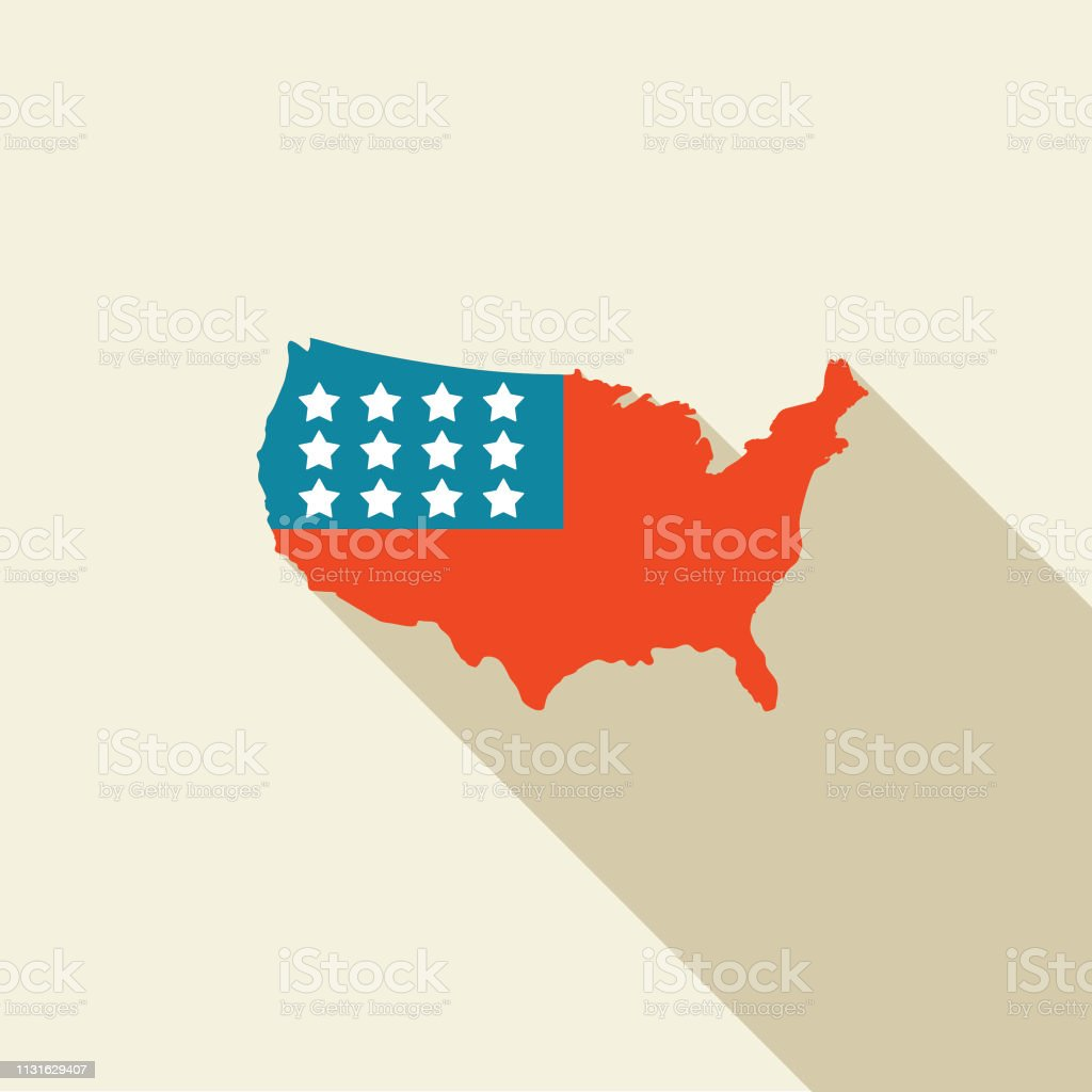 Elections and political icons in flat design style. Map of the USA...