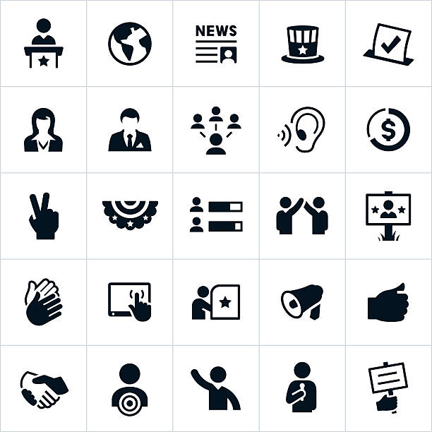 politics and election icons - politician stock illustrations, clip art, cartoons, & icons