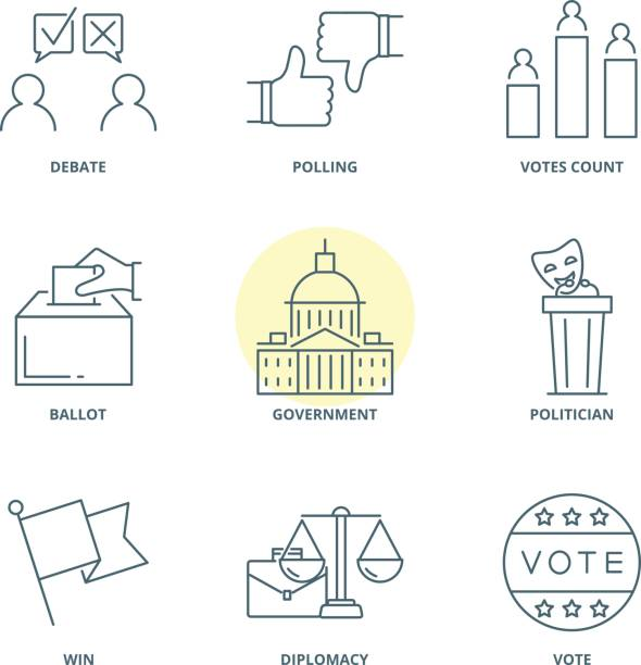 Politics and election linear vector icons set vector art illustration