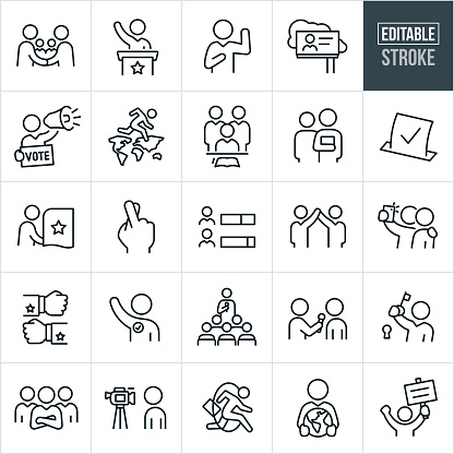 Politics And Election Thin Line Icons - Editable Stroke