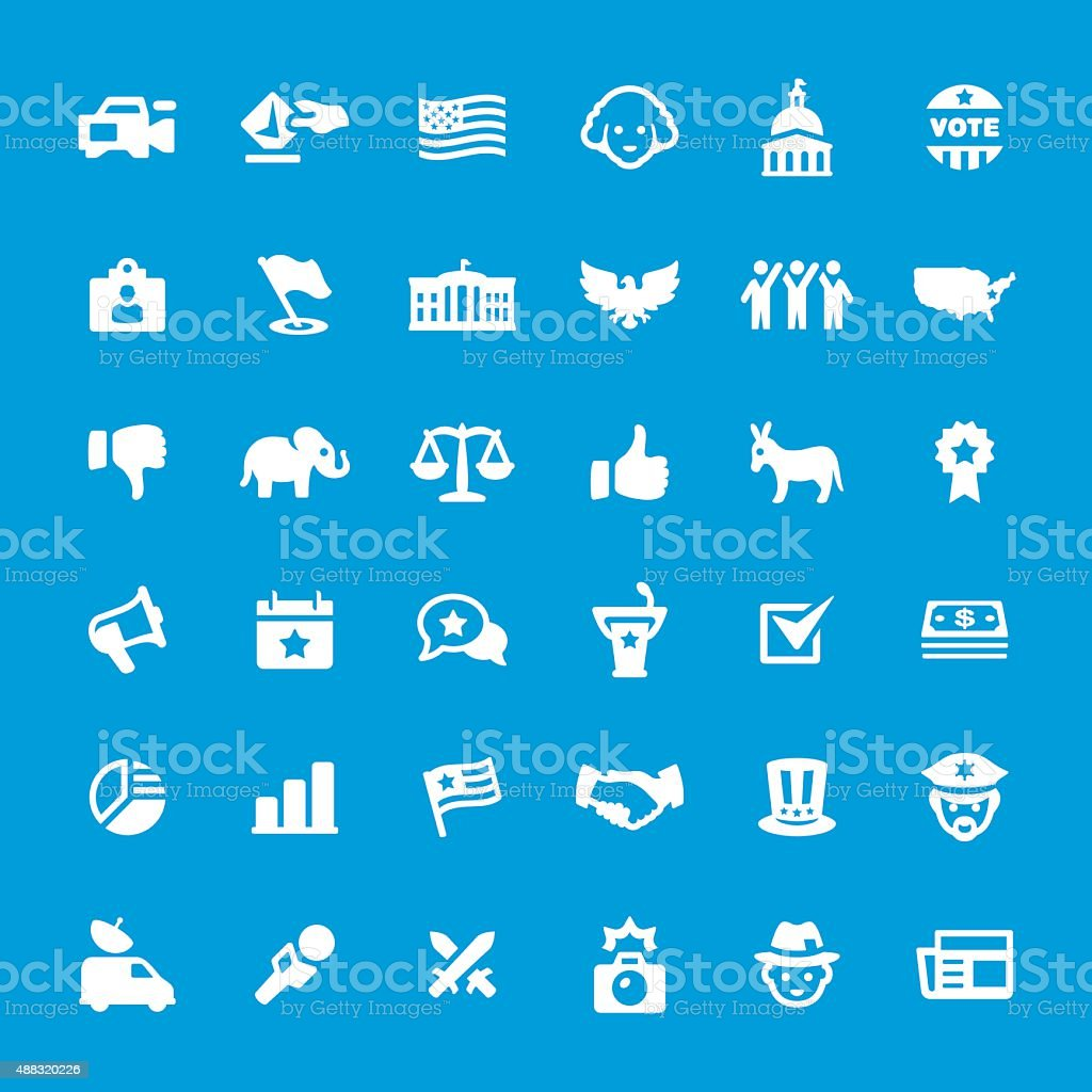 Politics and Election vector icons set vector art illustration