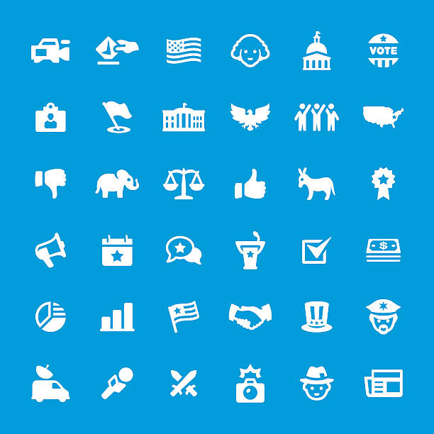 politics and election vector icons set - abd başkanı stock illustrations