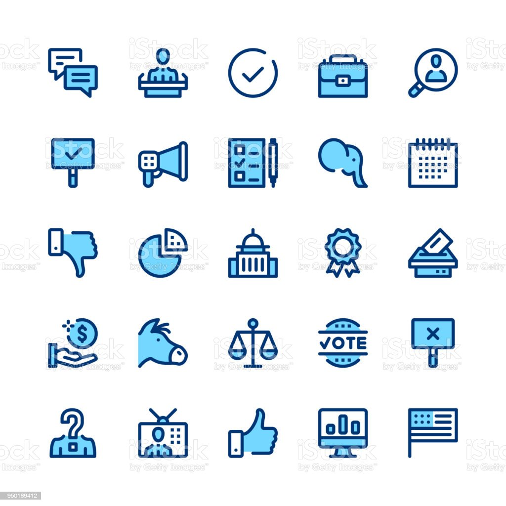 Politics and elections line icons set. Modern graphic design concepts, simple symbols, linear stroke web elements, pictograms collection. Minimal thin line design. Premium quality. Pixel perfect. Vector outline icons vector art illustration