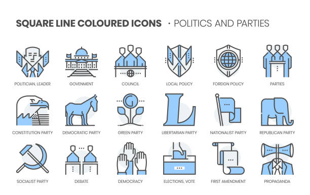 politics and parties related, square line color vector icon set - white house stock illustrations